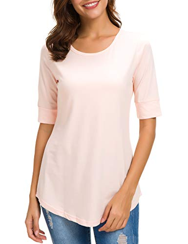 Womens Cotton Tops Casual Fitted Soft T Shirt Comfy Half Sleeve Tee Solid, Pink, ()