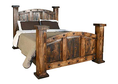 (Old West Rustic Mansion Bed Frame Queen)