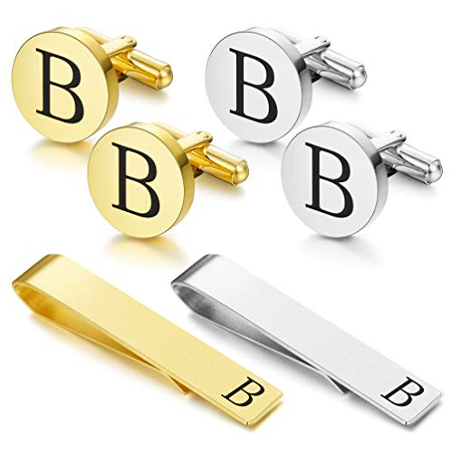 Bar Steel Link Stainless (FUNRUN JEWELRY Stainless Steel Tie Clip and Cufflink Set for Men Button Shirt Personalized Initials Alphabet A-Z Gift)