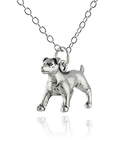 Russell Necklace Jack (Sterling Silver 3-D Jack Russell Terrier Dog Pendant Necklace, 18 Inch Chain)