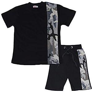 A2Z 4 Kids Kids Boys T Shirt Shorts 100% Cotton Camo Charcoal Contrast Panelled Trendy Fashion Summer Top Short Set New…