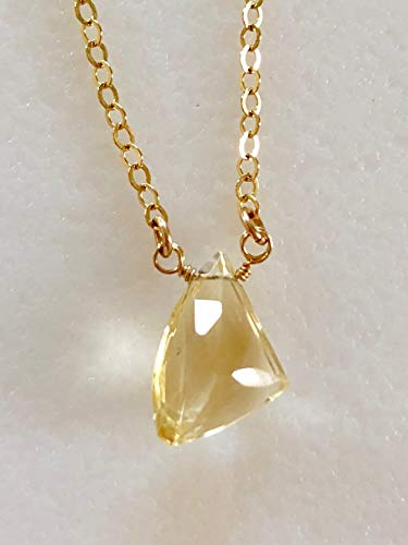 - Citrine Briolette Necklace, Fancy Cut Pale Yellow Citrine, Stylized Citrine Triangle, Delicate Necklace, November Birthstone, Bridal, Gold Fill.