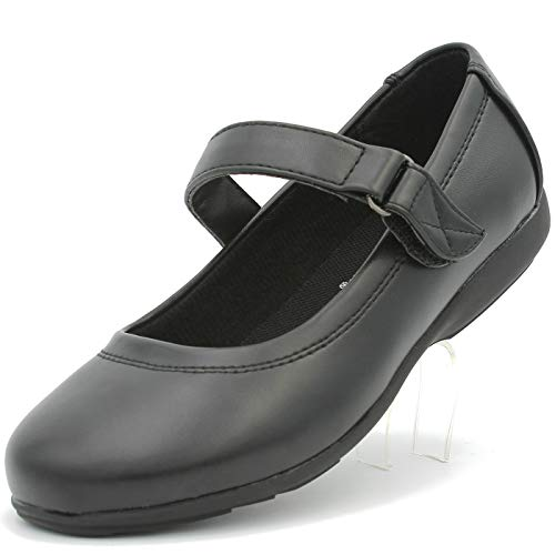 Janes Band - BALL BAND Girl's Black Casual School Uniform Shoes Dress Mary Jane Flat Round-Toe Non-Marking (12 M US Little Kids, Black)