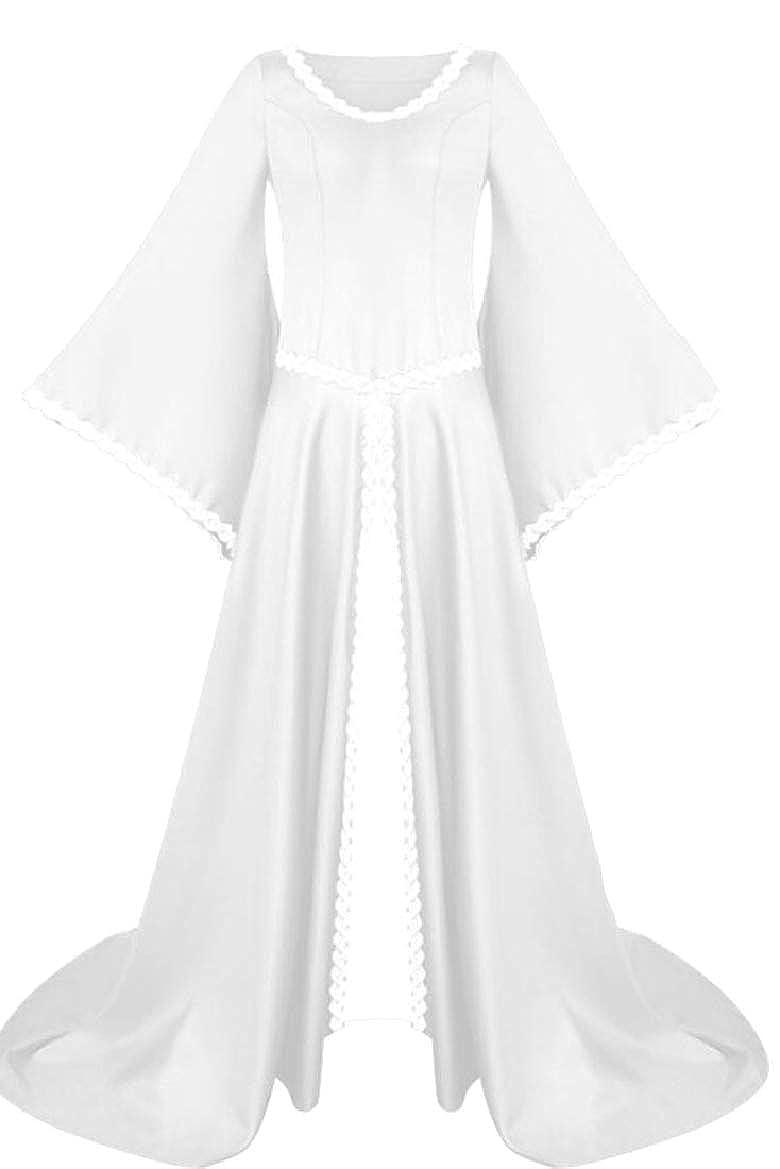 3 RGCA Women Medieval Long Length Asymmetric Victorian Maxi Bell Sleeve Dress