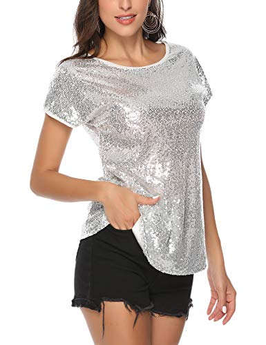 barnkas Sequin Tops for Women, Sparkle Shirt Shimmer Glitter Loose Bat Sleeve Party Tunic Tops Silver