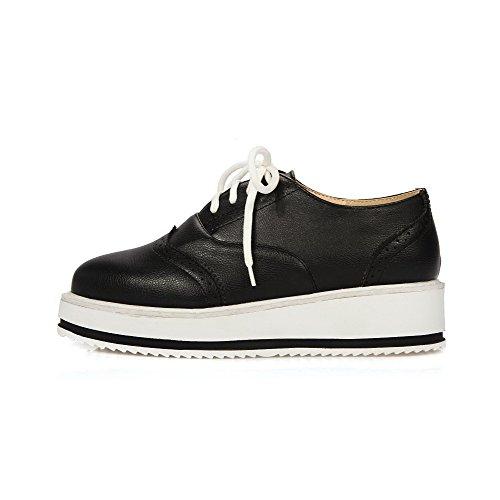 AmoonyFashion Womens Round Closed Toe Lace-up PU Solid Kitten-Heels Pumps-Shoes Black TXx0b