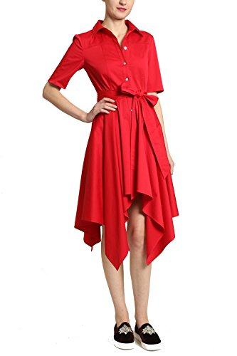Badgley Mischka Handkerchief Hem Button Front Short Sleeve Dress with Tie Belt and Flare Collar, Crimson, Size 16