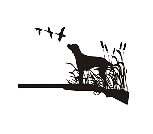 "Home Find Dog Wall Decals Animal Wall Stickers Hunting Dog in Grass with Shotgun Silhouette Vinyl Nature Stickers Bedroom Living Room Removable Stylish Mural Unique Design Home Decor 22.4""w x 15.7""h"