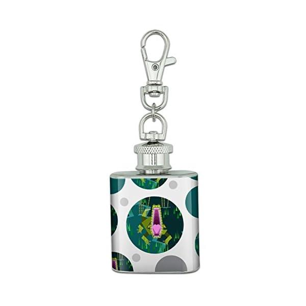 Stainless Steel 1Oz Mini Flask Key Chain - Geometric Animals -