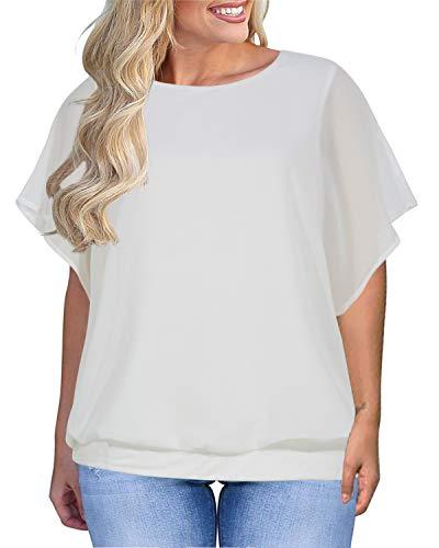 Nemidor Women's Chiffon Batwing Short Sleeve Casual Blouses Loose Plus Size T-Shirts Tops NEM211 (1XL, White)]()