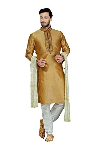 Jaipur Collections Mens Kurta Pajama Wedding Art Dupion Brown India Party Wear Set Of 3 by Jaipur Collections