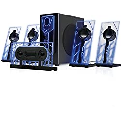 GOgroove BassPULSE 5.1 Computer Speakers Surround Sound with Subwoofer, 80 Watts and Blue LED Glow Lights Works with Desktop and PC Computers Supporting 5.1 Audio Input