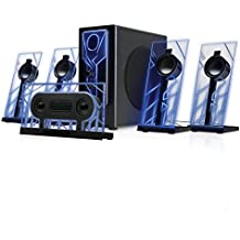 BassPULSE 5.1 Computer Speakers Surround Sound with Subwoofer , 80 Watts and Blue LED Glow Lights by GOgroove - Works with Desktop and PC Computers Supporting 5.1 Audio Input