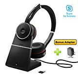 Jabra Evolve 75 Bluetooth Headset Bundle | Active Environmental Canceling | USB Dongle, Charging Stand, Bonus AC Adapter | MS-Skype/Lync Certified | Softphones, Smartphones, PC/MAC | 7599-832-199-B