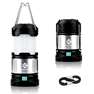 Etekcity 1 Pack Portable Rechargeable LED Camping Lantern Flashlights & 4400mah USB Power Bank (Black)