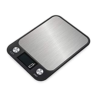 Andier Digital Kitchen Multifunction Food Scale for Cooking and Baking, Grams and Ounces, 11lb/5kg Capacity, 0.04oz/1g Increment, Black