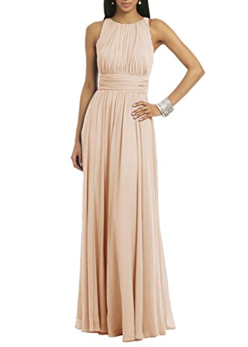 Ssyiz Women's Elegant Pleated Chiffon Floor Length Evening Dress Party Gown Khaki Medium (Bridesmaid Dresses Khaki)