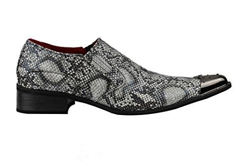 Herren Leder Loafers Zehe Imitat Grau Retro Schuhe Pickers Metall Print Winkle Schlangenleder Schwarz on Slip rOrgU