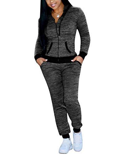 Women's Tracksuit Set Pants 2 Piece Long Sleeve Jogging Zipper Hoodie Sweatsuit Grey