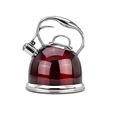 (HongTeng Tea Kettle Whistling Tea Kettle Stovetop Stainless Steel Teapot Water Bottle 3L (Color : Red))
