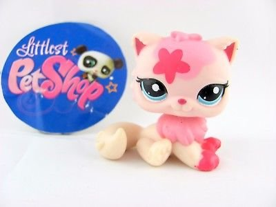 Littlest Pet Shop LPS Cat #2563 Rare White and Pink Cat Persian Kitten Kitty Cat with Flowers with Blue Eyes 2532 REAL - Loose Pet