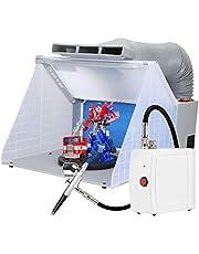 Kacsoo Bärbar modell färgläggningsspray monter set, avgasfläkt bakfärg, med slangfilter skivspelare spray målarbox arbetsbänk, för leksaker modeller hantverk