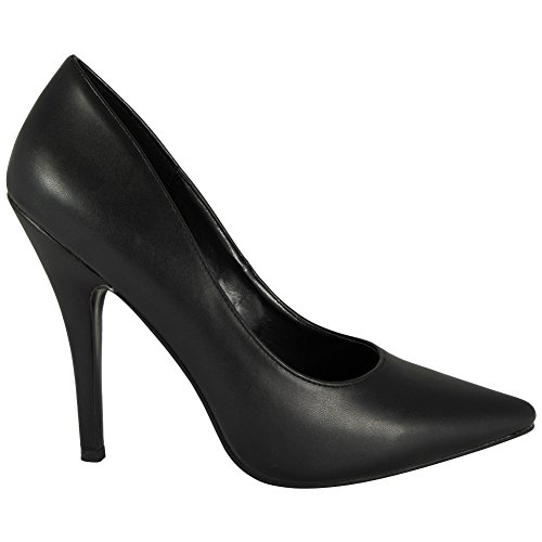 LoudLook New Womens Ladies High Stiletto Heel Fetish Going Out Pumps Shoes Large Sizes 9-12 UK Black Pu BebzFiGa5z