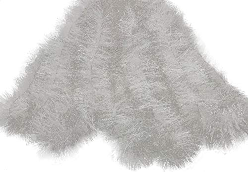 Holiday Times Thick Tinsel Christmas Garland 15 (Frosty White)