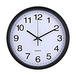 Sanch Ancha Wall Clocks Black Stainless Steel Frame White Dial PVC Cover Non-Ticking Large Digital Number Quartz 12 inch Modern Decorative Dinning Room Kitchen