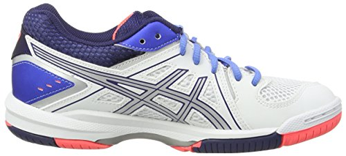 Asics Gel-Task - Zapatillas de voleibol Mujer Blanco (White/Powder Blue/Flash Coral 0147)