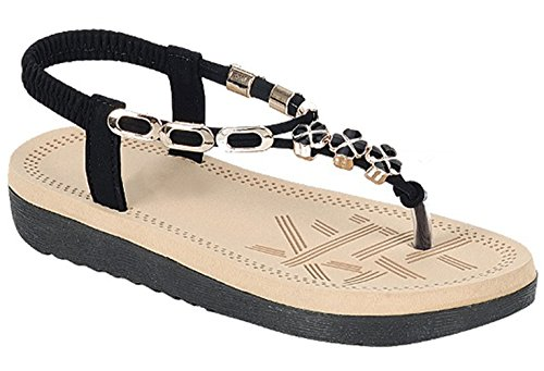 Top Black Elastic Band No Buckles Easy Slip On Round Toe T-Strap Low Wedge Bejeweled Cushioned Indoor Little Girl Dress Sparkle Sweet Pony Spring Fashion Modern Sandal for Sale Kid - Wedge Bejeweled