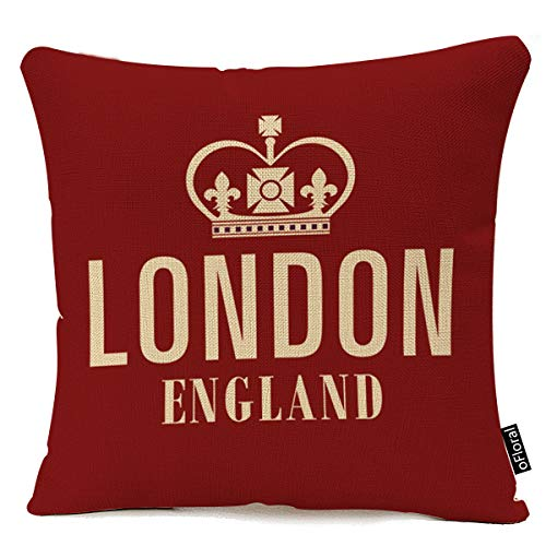 "oFloral Cotton Linen Square Decorative Throw Pillow Case Cushion Cover Crown London England in Red 18""x18 Inch"
