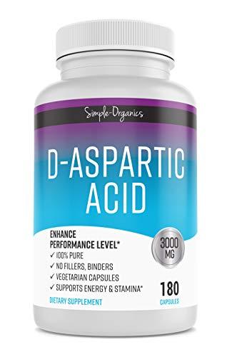 D-Aspartic Acid, 180 Veggie Capsules, 3000mg