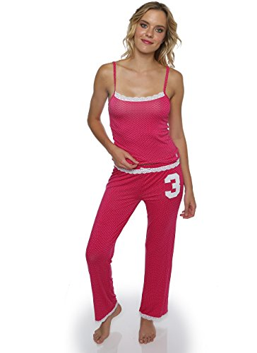 US Polo Assn. Womens 2 Piece Matching Tank Top and Long Pant PJ Sleepwear Set Pink Large by U.S. Polo Assn.