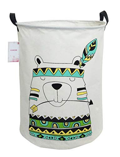 CLOCOR Large Storage Basket,Canvas Fabric Waterproof Storage Bin Collapsible Laundry Hamper for Home,Kids,Toy Organizer (Indian Bear)