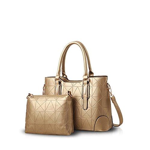 2PCS Women Tote PU Shoulder Messenger Leather Satchel Handle Bag Gold Waterproof Handbag amp;Doris Nicole Gold Purse Bag Top 6S8xqPSwz