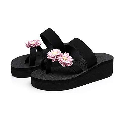 - MIOKE Women's Wedge Flip Flops Sandals Floral Toe Ring Anti-Slip Comfy Platform Summer Beach Thong Sandal