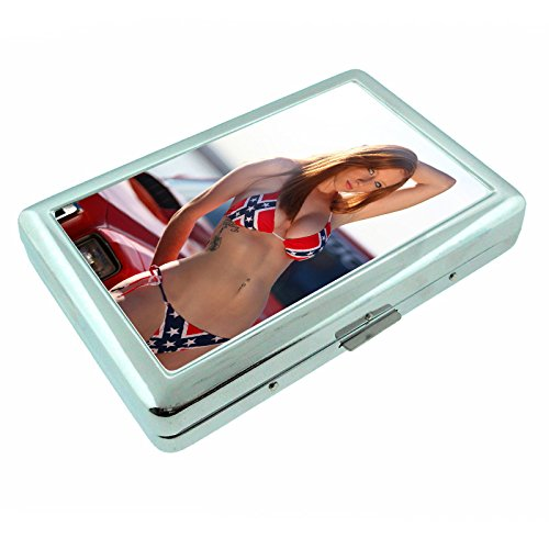 Country Pin Up Girls USA S33 Silver Cigarette Case Metal Wallet Id Holder King & 100's 4