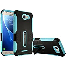 For Samsung Galaxy J7V J7 V / J7 Perx / J7 Sky Pro / J7 Prime / Halo / J7 2017 Case, Customerfirst [Heavy Duty] [Shockproof] Soft TPU & Hard PC Rugged Dual Layer Case with Kickstand (Teal)