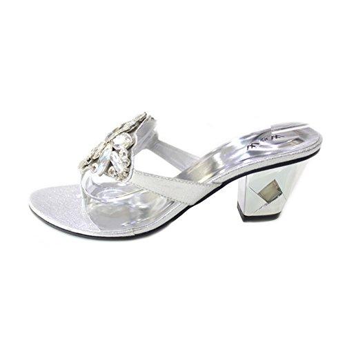 W & W Femmes Mesdames Soirée Confort à Enfiler Diamante Sandale Fête de Mariage Taille Moyenne Bloc Talon Chaussures Taille 4–10(Noir) Silver OYOjnCMg