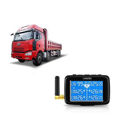 U901T Tire Pressure Monitoring System for Trucks with 6pcs External Sensors Real Time Monitoring Pressure and Temperature Vehicle Battery Testing Large LCD Display by Careud (Image #3)