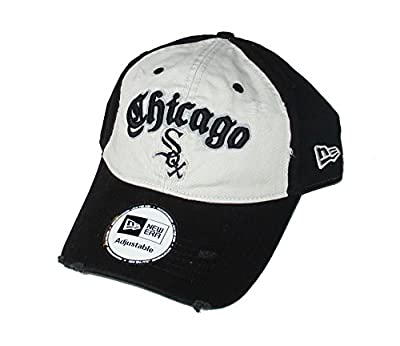Chicago White Sox Adjustable One Size Fits All Black & White Distressed Style Hat Cap