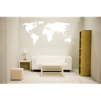Amazon white newclew world map wall decal vinyl art sticker white newclew world map wall decal vinyl art sticker home dcor large gumiabroncs Image collections