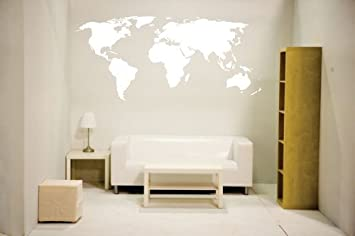 Amazon white newclew world map wall decal vinyl art sticker white newclew world map wall decal vinyl art sticker home dcor large gumiabroncs Gallery