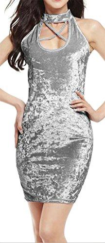 Womens Bodycon Sleeveless Keyhole Sexy Dresses Pencil Velvet Cromoncent Gray PFHdwOxqF