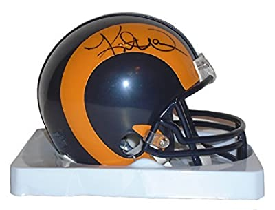 St. Louis Rams Kurt Warner Signed Hand Autographed Throwback Riddell Mini Football Helmet with Proof Photo and COA