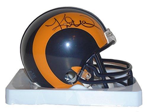 St. Louis Rams Kurt Warner Signed Hand Autographed Throwback Riddell Mini Football Helmet with Proof Photo and COA - Kurt Warner Photos