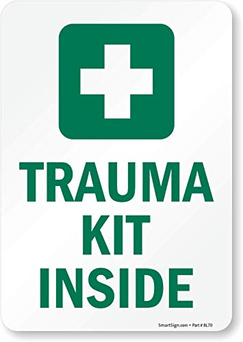 Trauma Kit Inside (with First Aid Symbol), Adhesive Signs and Labels, 10