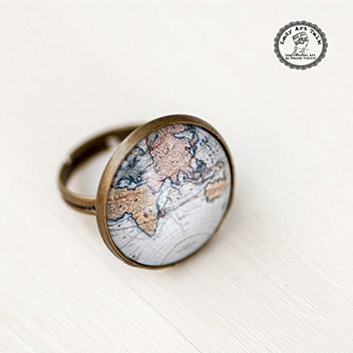 World Map Ring   Atlas Adjustable Ring   Globe Photo Glass Ring   Old Blue  Map