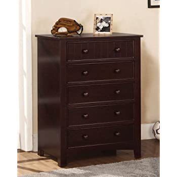 Amazon.com: Furniture of America Oscar 5-Drawer Bedroom Chest, Dark ...